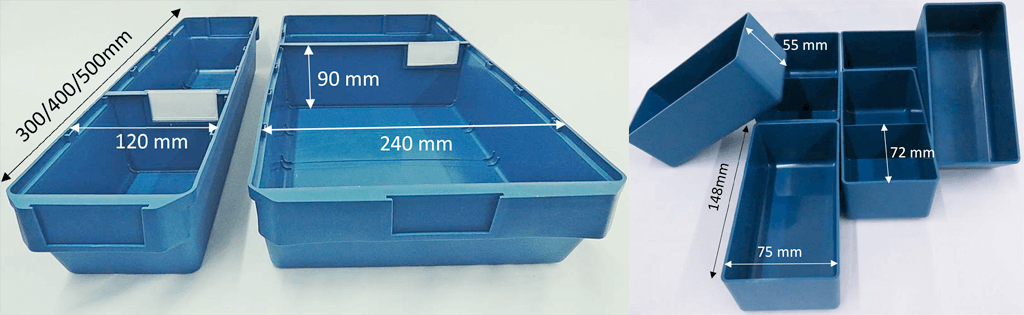 bin inserts and shelf bins with dimensions