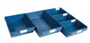 Blue storage shelf bin 3 depths